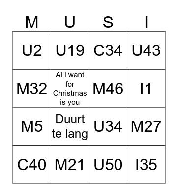 MUSIC! Bingo Card