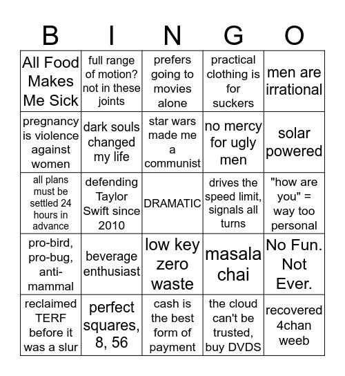 sithbich Extremely Un-relatable bingo Card
