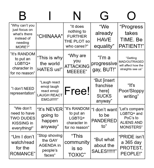 Excuses Against LGBTQ+ Representation Bingo Card