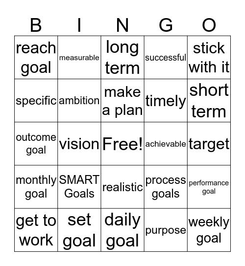 Goal Setting Bingo Card