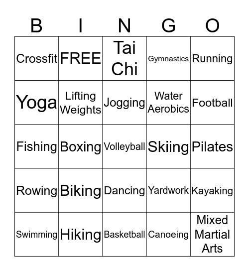 Physical Activity Bingo Card