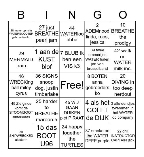 Brabant/Sealand Diving nieuwjaar 2020 Bingo Card
