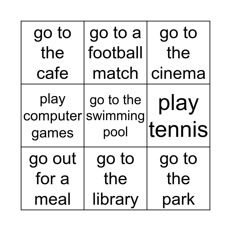 Find someone who wants to... Bingo Card