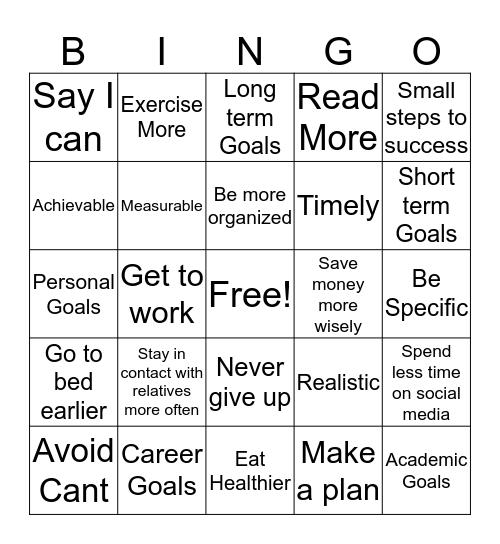 GOALS Bingo Card