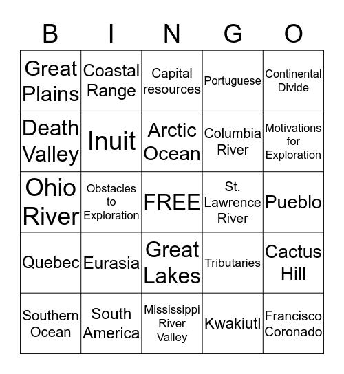US History to 1865 Bingo Card