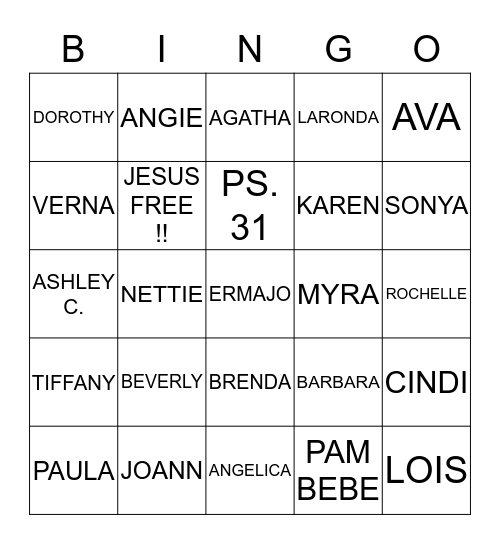 NEW HOPE BINGO !! Bingo Card
