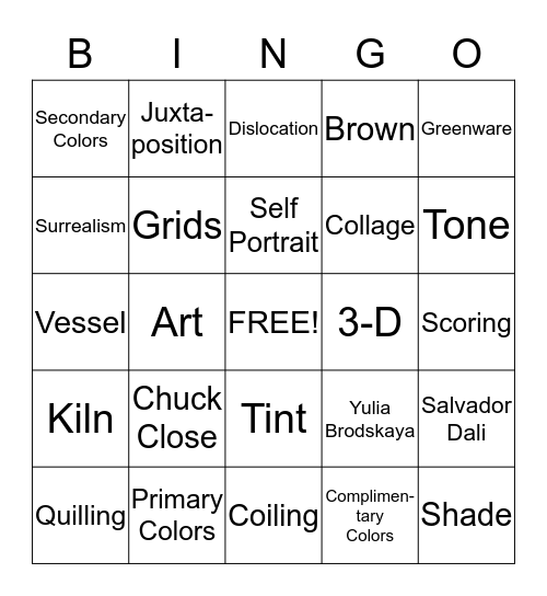 ART Bingo Card