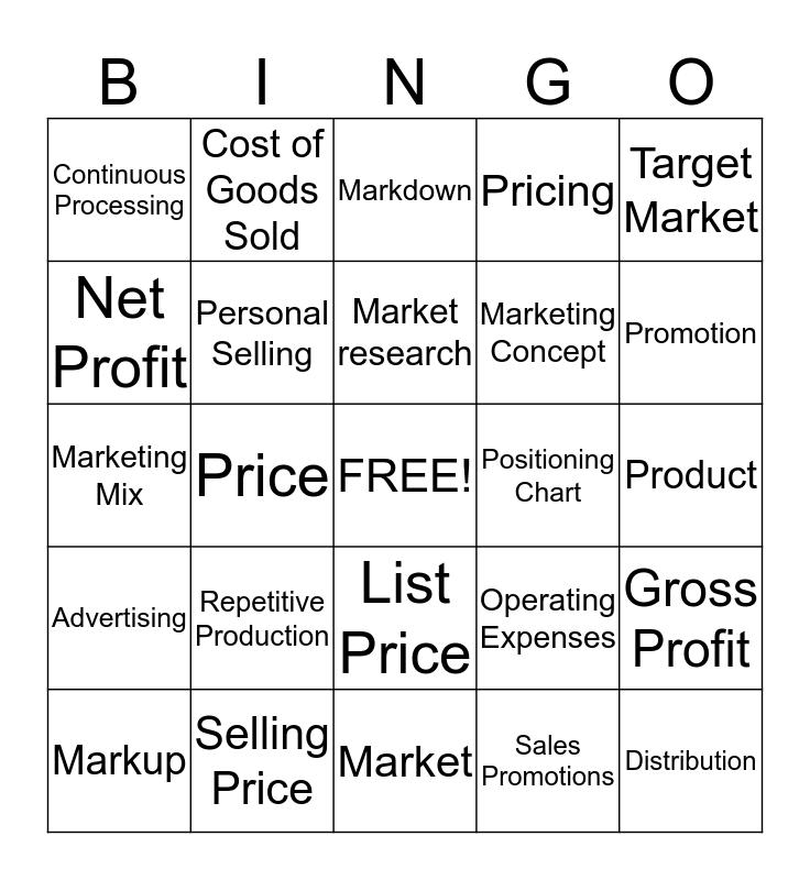 Unit 5 Bingo Card