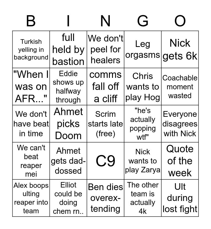 SCRIMBLINGO Bingo Card