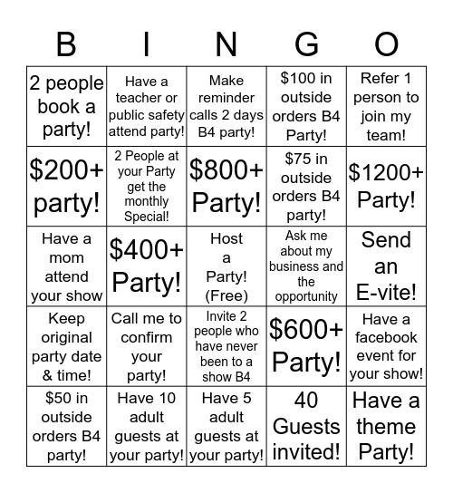 Hostess Bingo  Bingo Card