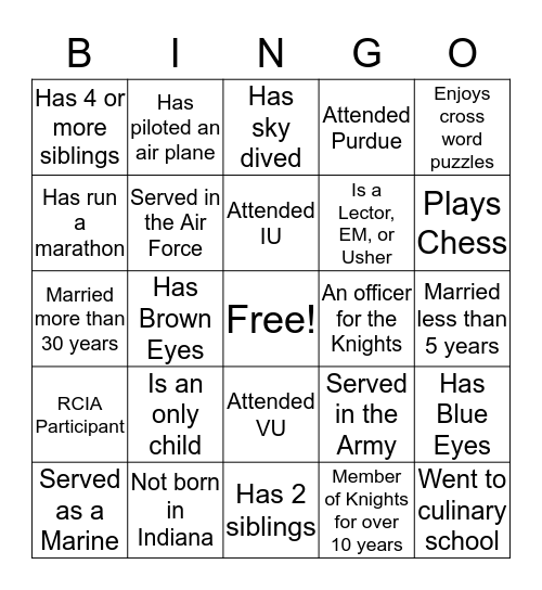 Knights of Columbus Family Bingo Card