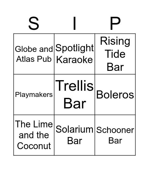 Oasis of the Seas Bingo Card