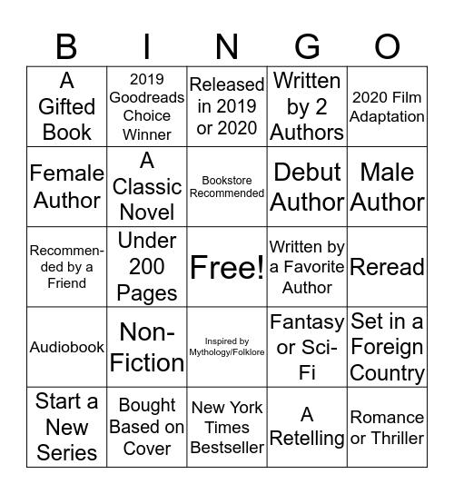 2020 Reading Challenge Bingo Card