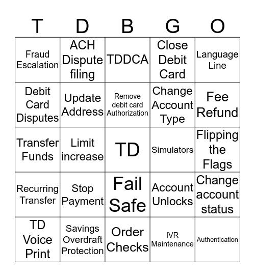 TD Bank Bingo  Bingo Card