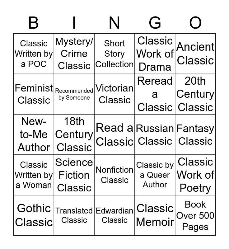 #ClassicsCommunity2020 Reading Challenge Bingo Card