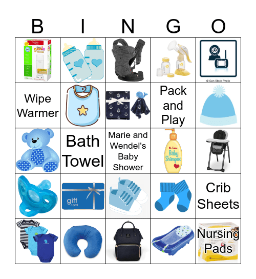 Shower Gift Bingo Card