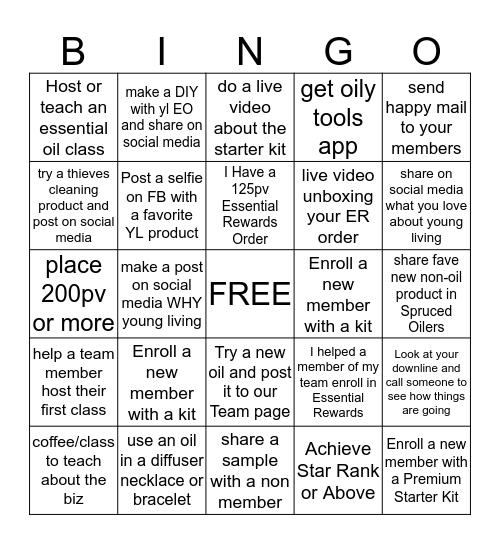 Young Living Bingo! Bingo Card