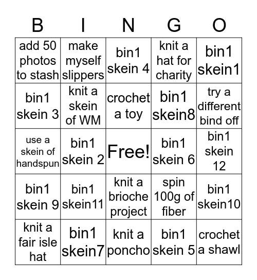 Craft The Bin 2020 Bingo Card