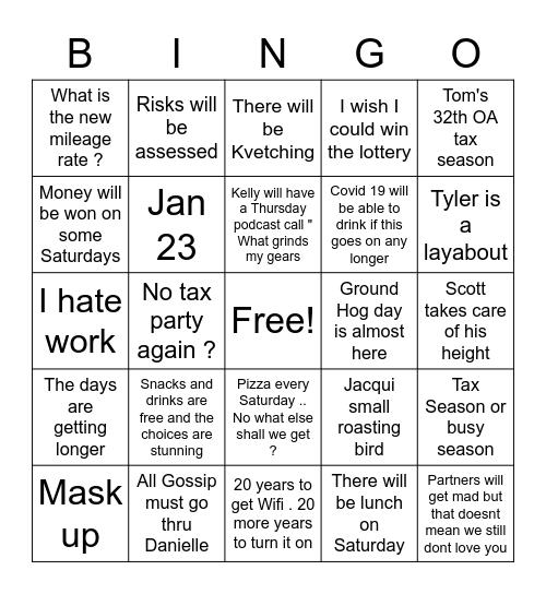 Nasty Tax Season is here Bingo Card