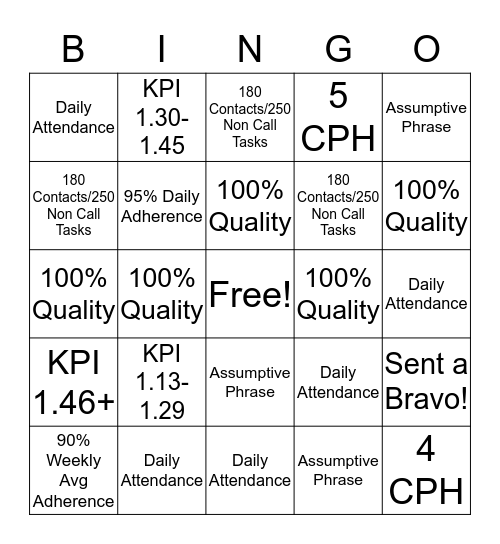 BINGO! It's a New Year! Bingo Card