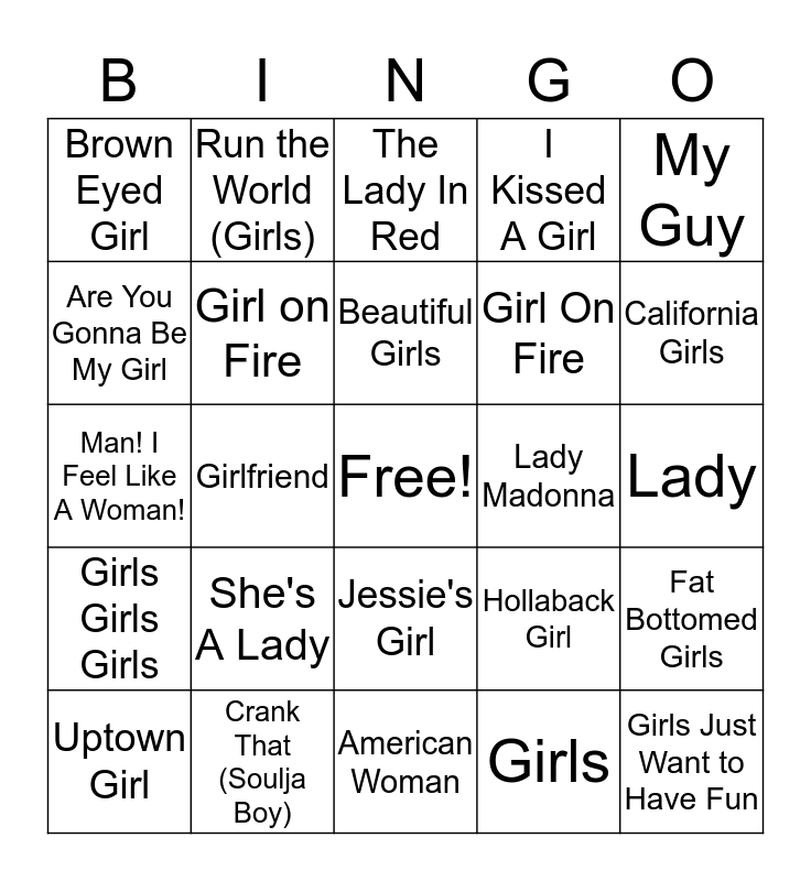 Girls vs Boys Bingo Card