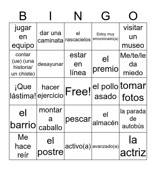 Page 25 Vocab Midyear Review! Bingo Card
