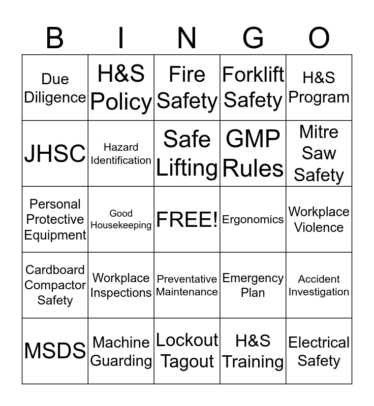 PPSI SAFETY BINGO Card