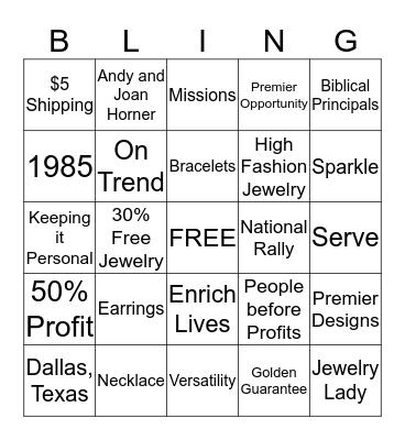 Premier Designs Jewelry Bingo Card