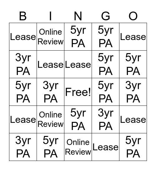 Sears Outlet Bingo Card
