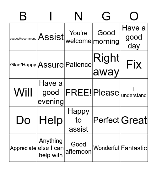 Positive Word BINGO Card