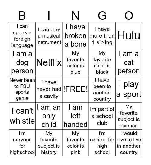Arts & Athletics Program Bingo! Bingo Card