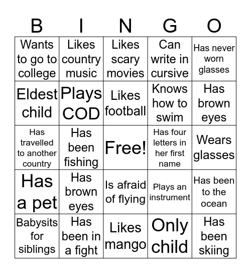 People Bingo Card