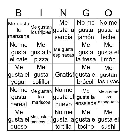 Te gusta Bingo Card