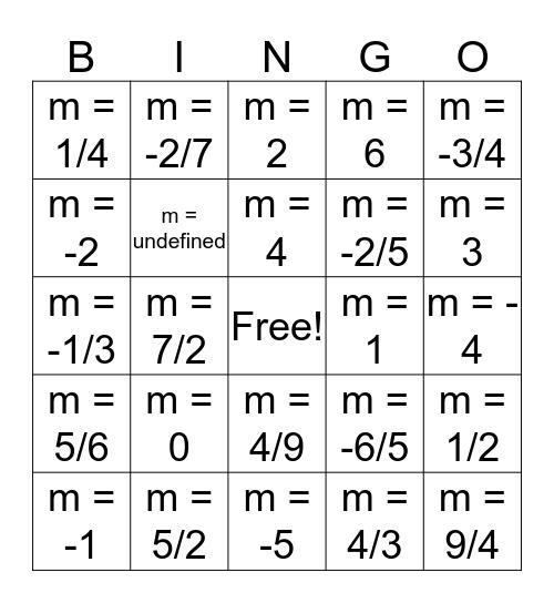 Slope Bingo Card