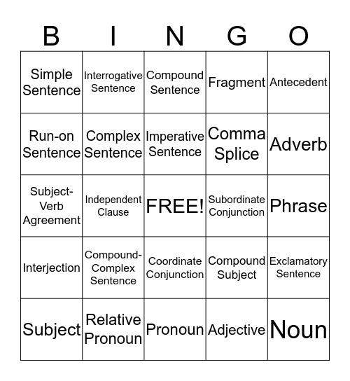 Sentence Structure  Bingo Card