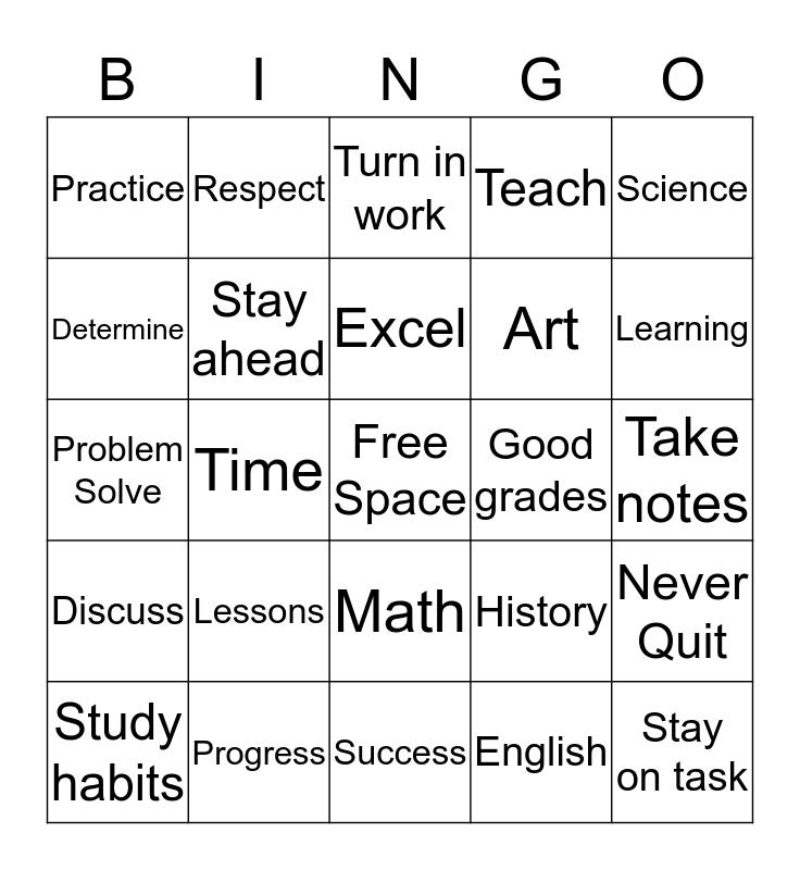 Study Habits Bingo  Bingo Card