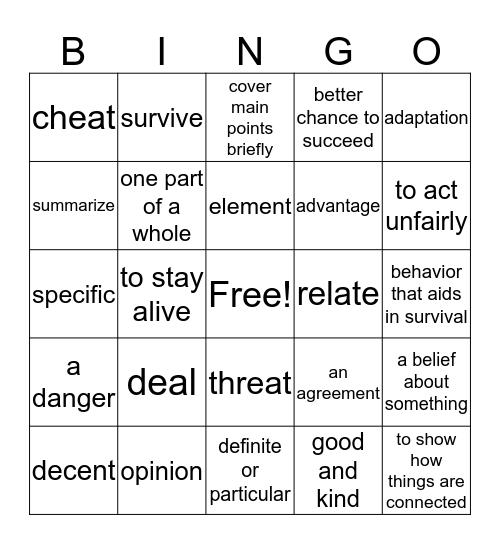 Inside NG Unit 2 test prep Bingo Card