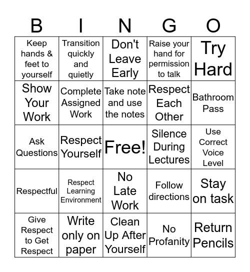 Classroom Expectations Bingo Card