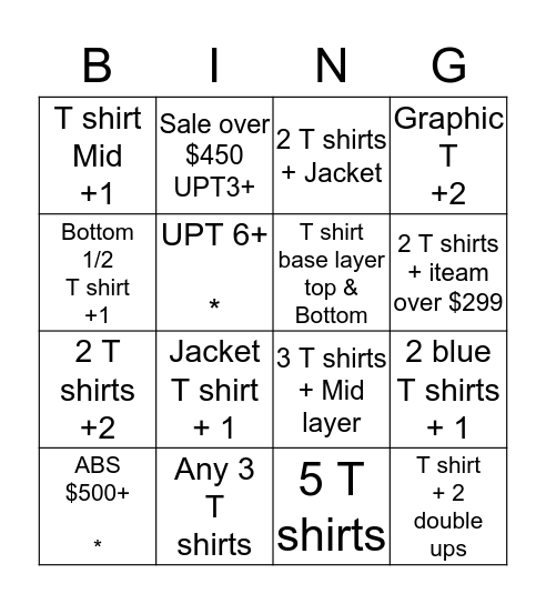 *All must have at least 1 T shirt Bingo Card