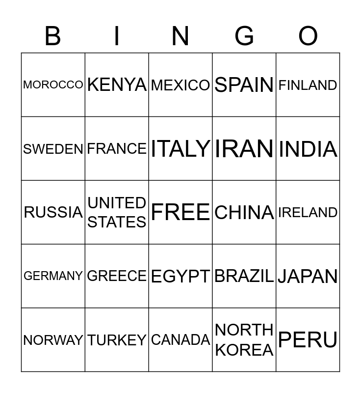 COUNTRIES OF THE WORLD Bingo Card