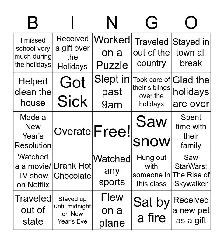 Winter Break Bingo ( Welcome Back) Bingo Card