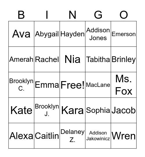 All About Us BINGO! Bingo Card