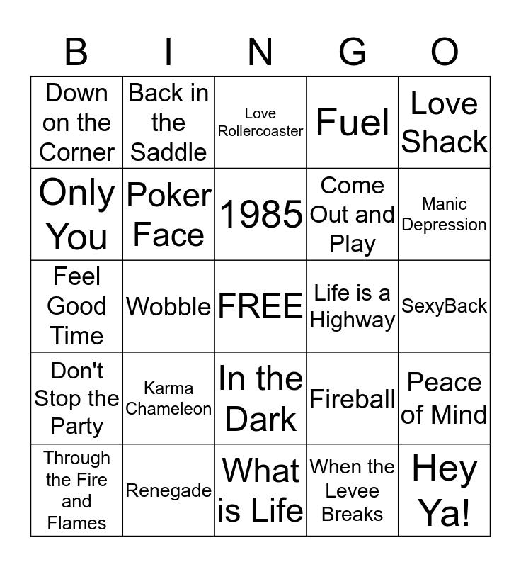 DDC Music Bingo #1 Bingo Card