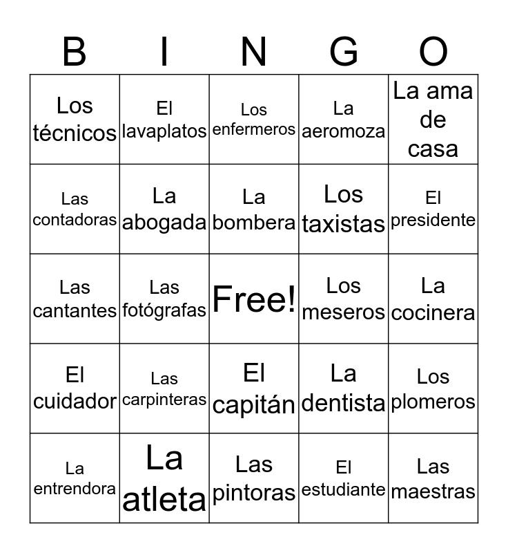 JOB TITLES IN SPANISH Bingo Card