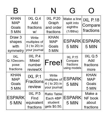 Silent  MATH BINGO Card