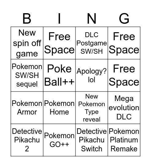 Pokemon Direct 1/9/20 Bingo Card
