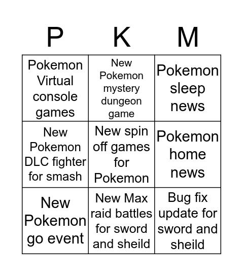 Pokemon direct 01-09-2020 Bingo Card