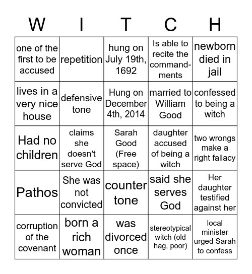 Sarah Good Bingo! Bingo Card