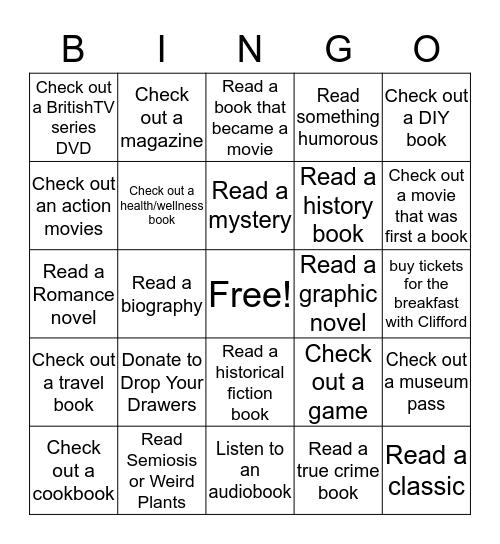 Strasburg-Heisler Library  Winter Reading  Bingo Card