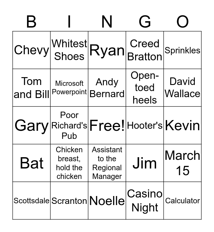 The Office Bingo Card